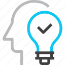 head, human, idea, imagination, light bulb, mind, thinking icon