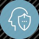 head, human, insurance, mind, protection, shield, thinking icon