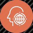 earth, global, head, human, mind, thinking, world icon