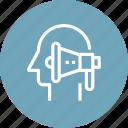 head, human, marketing, mind, pr, promotion, thinking icon
