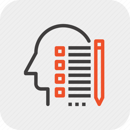 head, human, list, mind, plan, skill, thinking icon
