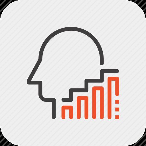 chart, growth, head, human, mind, success, thinking icon