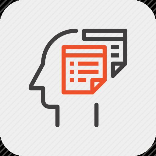 head, human, mind, plan, reminder, schedule, thinking icon
