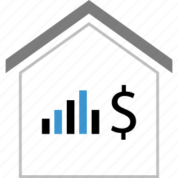 bars, data, dollar, home, sign icon