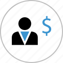 boss, dollar, profile, sign, think, user icon