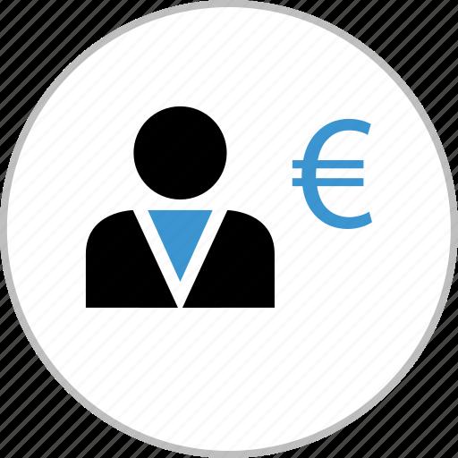 busienssman, business, euro, man, money, online icon