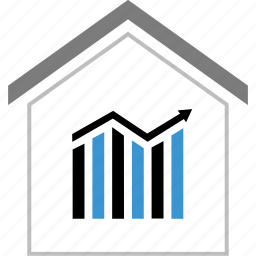 arrow, business, graph, report icon