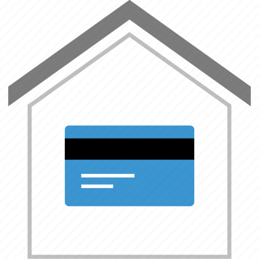 card, credit, debit, house, loan, money, payment icon