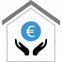 coin, euro, hands, money, sign icon
