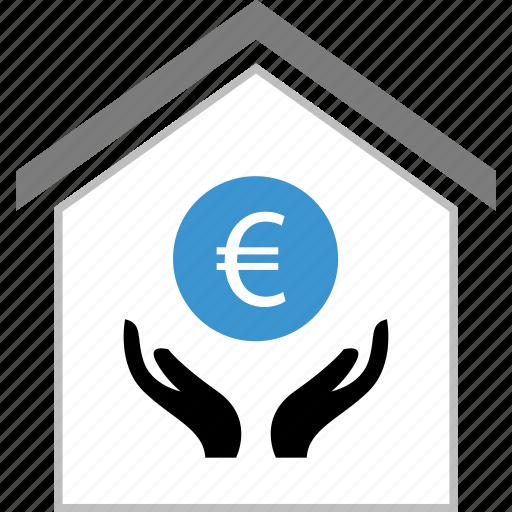 coin, euro, hands, money, sign icon