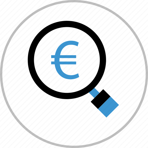 euro, find, magnifying, money, sign icon