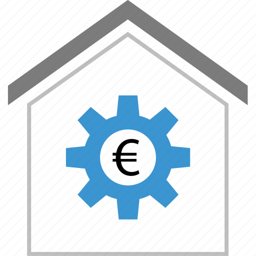 equity, euro, gear, sign, work icon