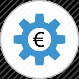 euro, gear, money, sign, work, working icon