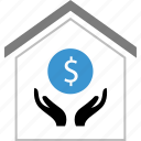 dollar, equity, hands, money, sign icon