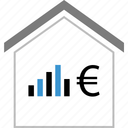 business, euro, home, house, sign icon