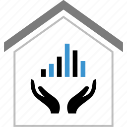 bars, data, hands, home, house icon