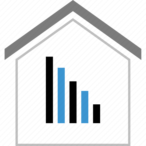 business, graph, home, house, report, revenue icon