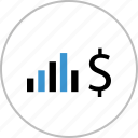data, dollar, graph, money, sign icon