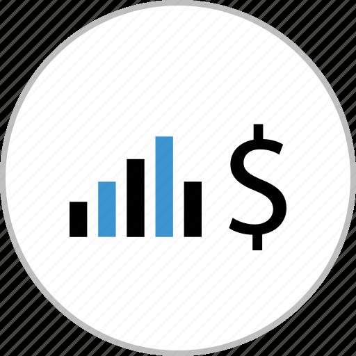 data, dollar, graph, money, sign icon
