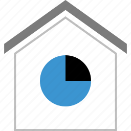 chart, graph, home, house, pie, report icon