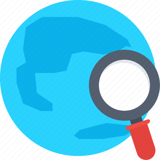 app, discovery, find location, global search, global view, globe with magnifier icon icon