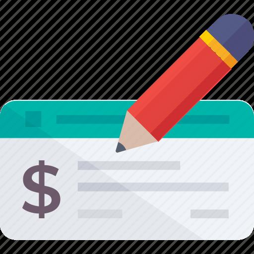 app, cheque signing, pencil, receipt, signature, voucher icon icon