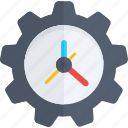clock setting, cog, schedule, time management, time setting icon icon