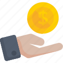 hand dollar coin, hand money, income, investment, savings icon icon