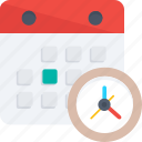 appointment, calendar with clock, meeting, schedule, timetable icon icon