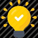 bulb, check mark, idea, innovation, inspiration, light icon icon