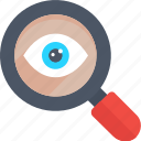 eye with magnifier, focus, monitoring, search, zoom in icon icon
