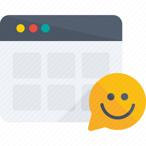 browser, comment, layout, like, smile, web icon, web page icon