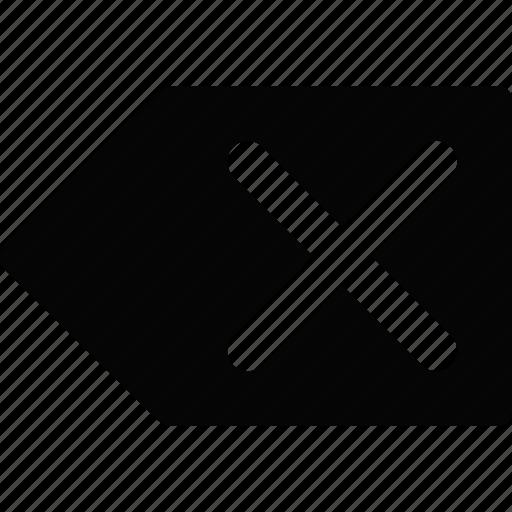 arrow, cross, left icon