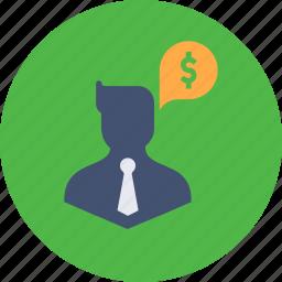 avatar, business, businessman, dollar, finance, man, money icon