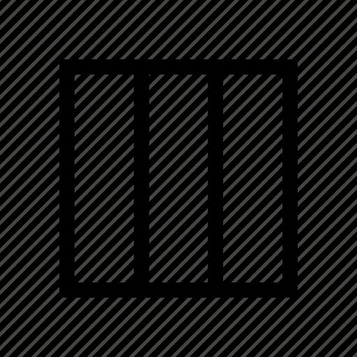 columns, data, design, grid, layout, three icon