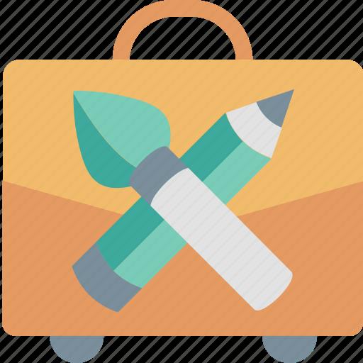 Portfolio, briefcase, brrush, examples, pencil, tool, work icon - Download on Iconfinder