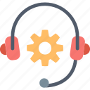 customer, gear, headphones, help, information, service, support icon