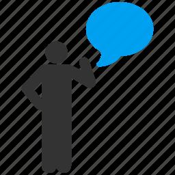idea, message, solution, speak, speech, talk, think icon