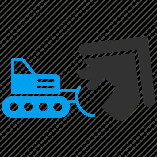 bulldozer, demolition, destroy, garbage, recycle, remove, trash icon