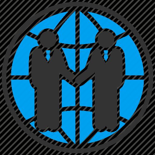 agreement, business contacts, contract, global partnership, handshake, world, worldwide icon