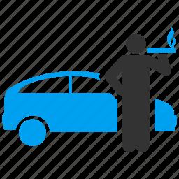 car, passenger, smoke, smoker, taxi driver, vacation, wait icon