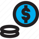 blue, business, coin, dollar, money icon
