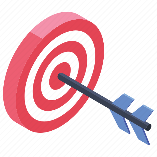 business goal, business target, financial goal, target, target market icon