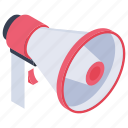 bullhorn, announcement, advertising, loudspeaker, megaphone icon