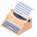 copywriter, journalist, serial printer, teletype, typewriter icon