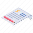 budget, business document, financial document, financial report, invoice icon