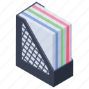 archive rack, document holder, file rack, folder cabinet, folder drawer icon