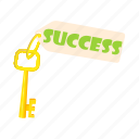business, cartoon, concept, key, security, solution, success icon