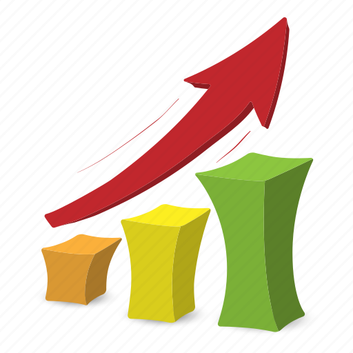 arrow, business, chart, graph, growth, increase, volume icon