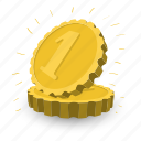 bank, banking, business, cash, coins, golden, two icon